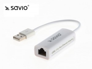 Elmak Adapter USB LAN 2.0 - Fast Ethernet (RJ45) SAVIO CL-24, blister